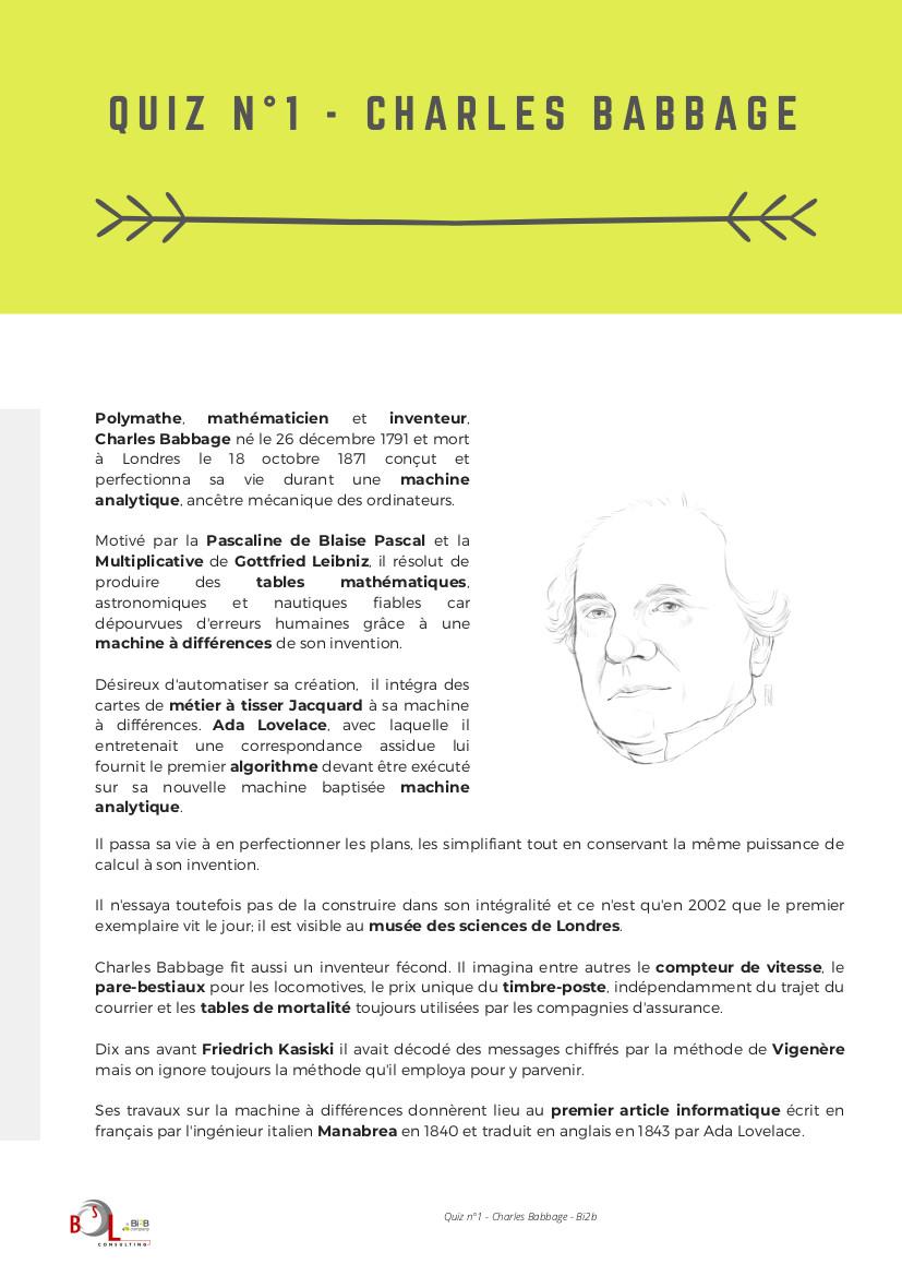 Quiz n°1 - Charles Babbage